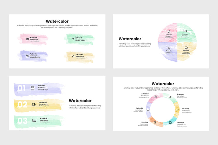 PPT Watercolor Infographics Templates for PowerPoint, Keynote, Google Slides, Adobe Illustrator, Adobe Photoshop