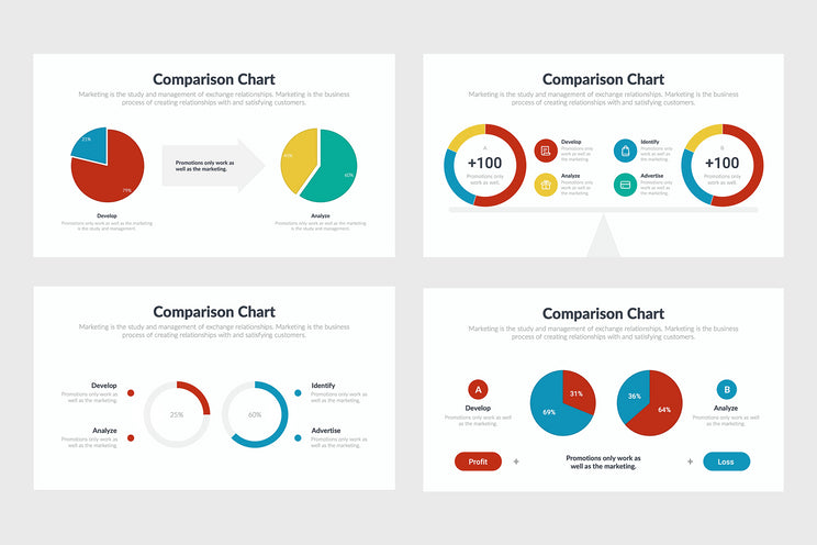PPT Comparison Charts Infographics Templates for PowerPoint, Excel