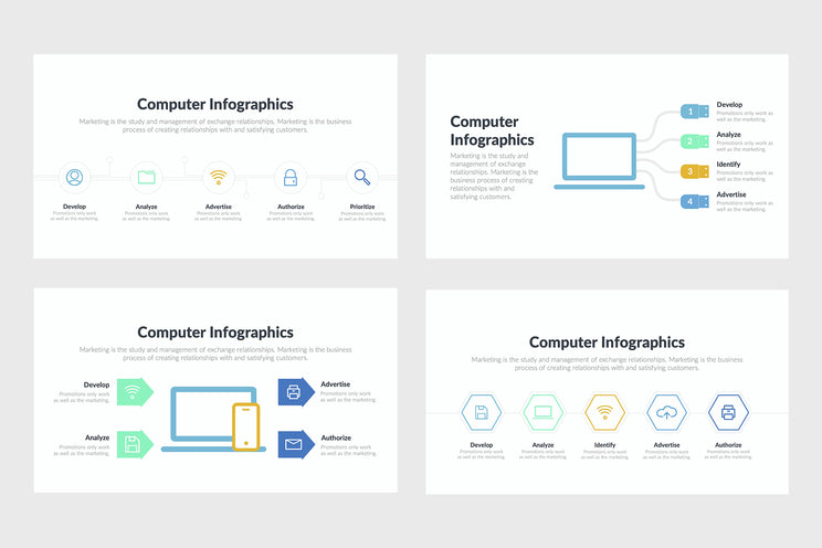 PPT Computer Infographics Templates for PowerPoint, Keynote, Google Slides, Adobe Illustrator, Adobe Photoshop