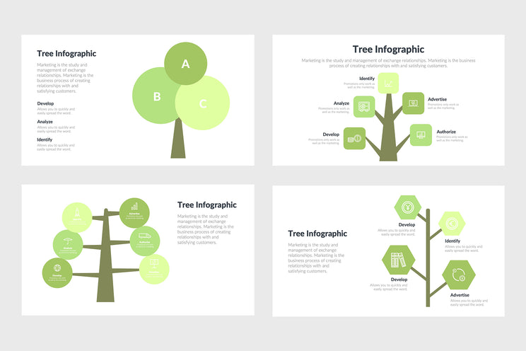 PPT Tree Infographics Templates for PowerPoint, Keynote, Google Slides, Adobe Illustrator, Adobe Photoshop