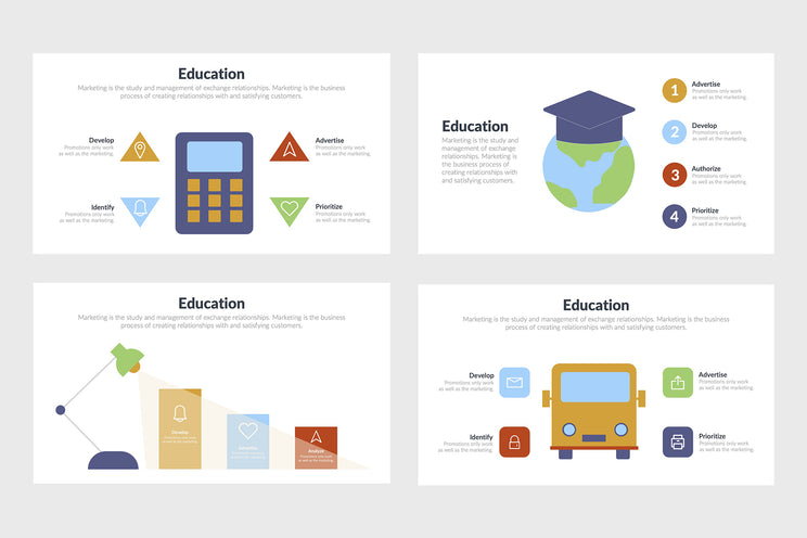 PPT Education Infographics Templates for PowerPoint, Keynote, Google Slides, Adobe Illustrator, Adobe Photoshop