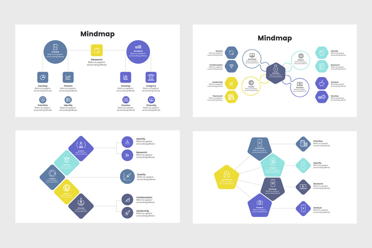 PPT Mindmap Infographics Templates for PowerPoint, Keynote, Google Slides, Adobe Illustrator, Adobe Photoshop