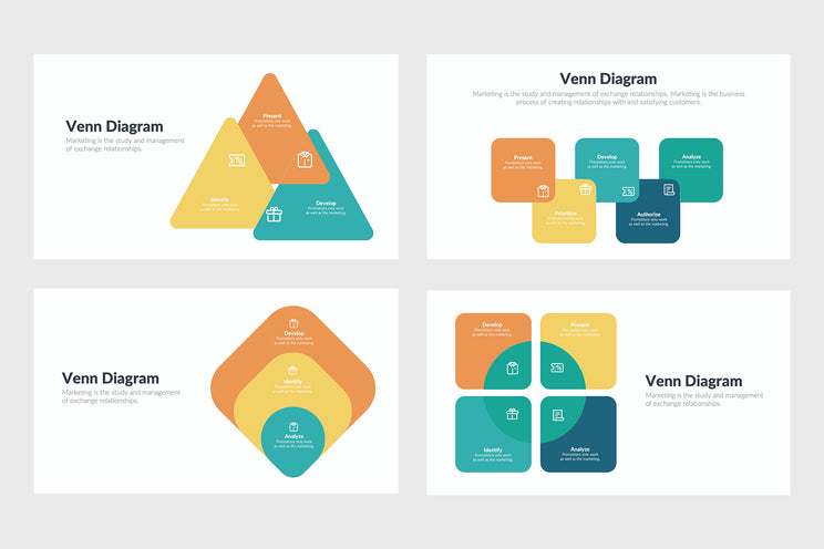 PPT Venn Diagram Infographics Templates for PowerPoint, Keynote, Google Slides, Adobe Illustrator, Adobe Photoshop