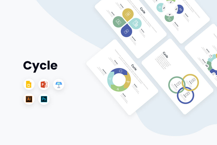 PPT Cycle Infographics Templates for PowerPoint, Keynote, Google Slides, Adobe Illustrator, Adobe Photoshop