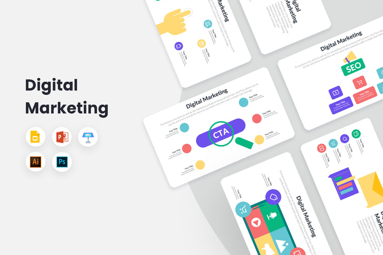PPT Digital Marketing Infographics Templates for PowerPoint, Keynote, Google Slides, Adobe Illustrator, Adobe Photoshop
