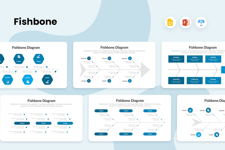 PPT Fishbone Diagrams Infographics Templates for PowerPoint, Keynote, Google Slides