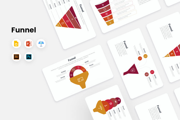 PPT Funnels Infographics Templates for PowerPoint, Keynote, Google Slides, Adobe Illustrator, Adobe Photoshop