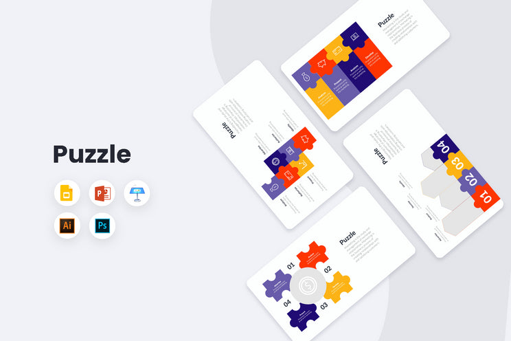 PPT Puzzle Infographics Templates for PowerPoint, Keynote, Google Slides, Adobe Illustrator, Adobe Photoshop