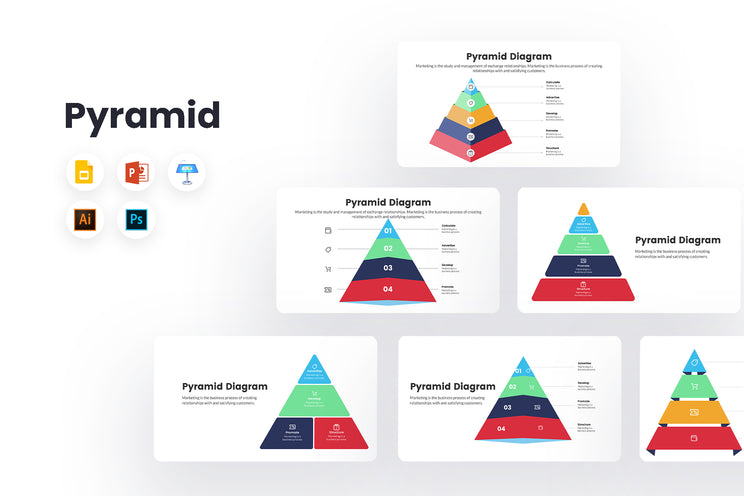 PPT Pyramid Diagram Infographics Templates for PowerPoint, Keynote, Google Slides, Adobe Illustrator, Adobe Photoshop