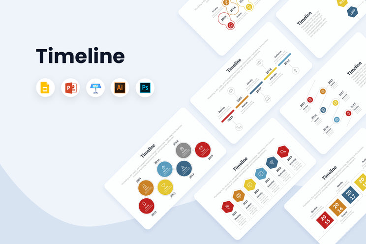 Timeline Infographics Templates for PowerPoint, Keynote, Google Slides, Adobe Illustrator, Adobe Photoshop