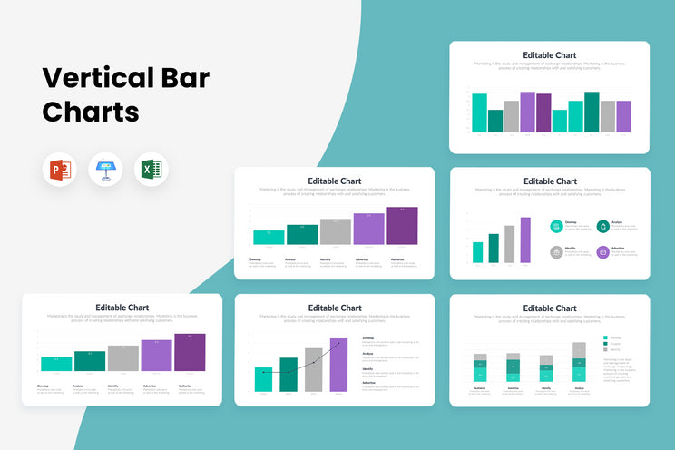 Vertical Charts Infographics Templates for PowerPoint, Keynote, Excel