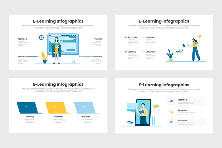 PPT e-Learning Infographics Templates for PowerPoint, Keynote, Google Slides