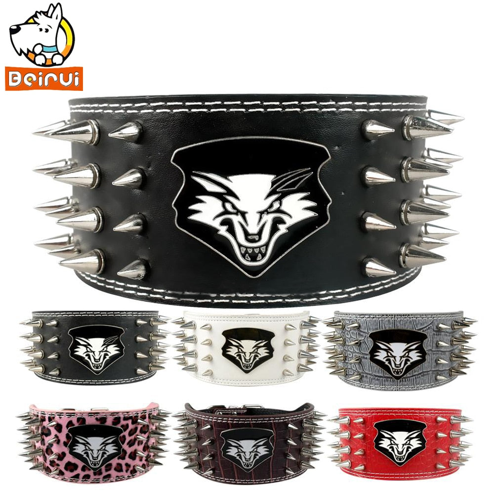 4 Rows Sharp Spiked Dog Collar Soft Leather