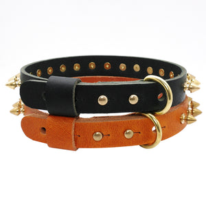 Spiked Studded Dog Collar Genuine Leather