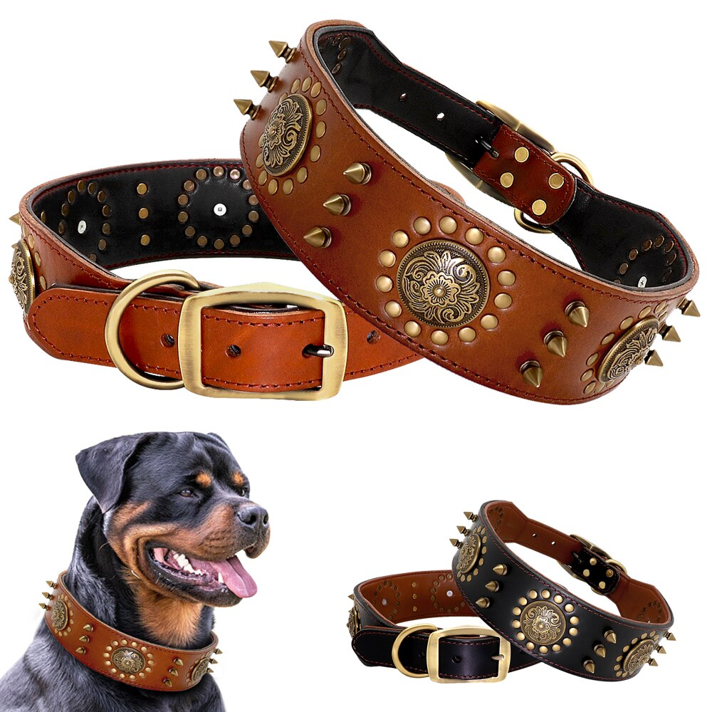 Durable Leather Studded Collar