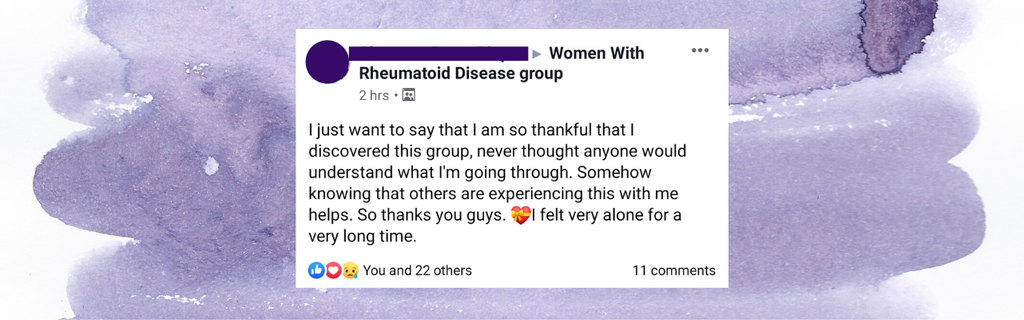 """Testimonial that says: """"I just want to say that I am so thankful that I discovered this group, never thought that anyone would understand what I'm going through. """""""