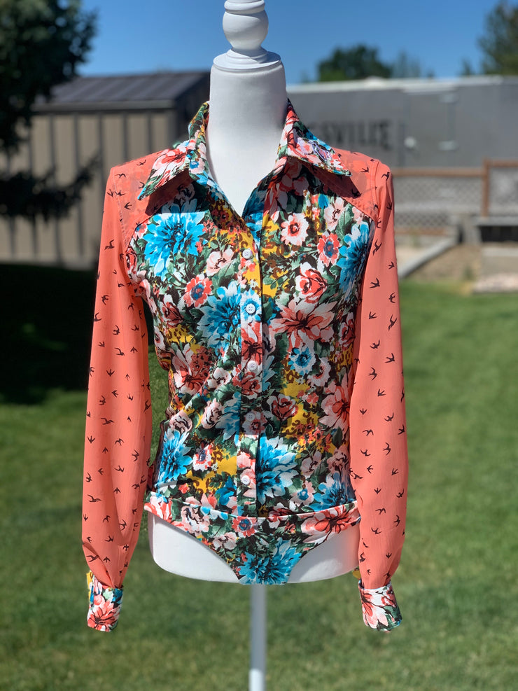 Multi floral/coral blouse sleeve