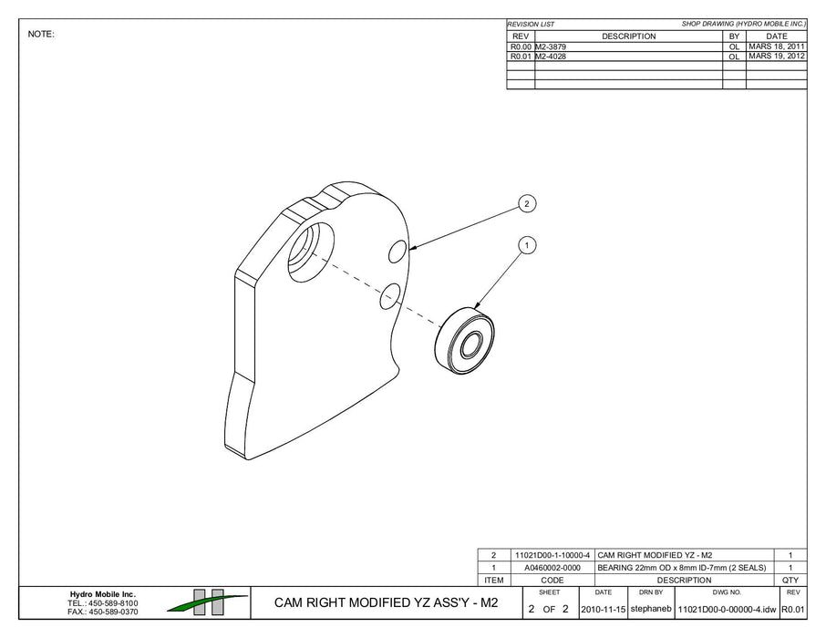 Cam for Cylinder Hooks - Right