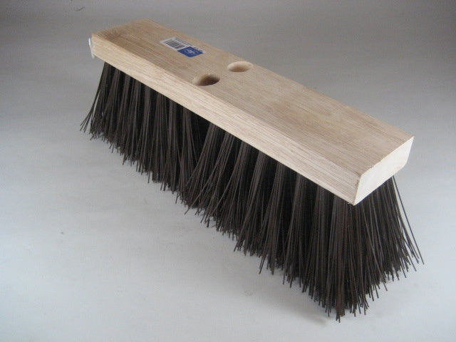"16"" Brown Plastic Street Broom"