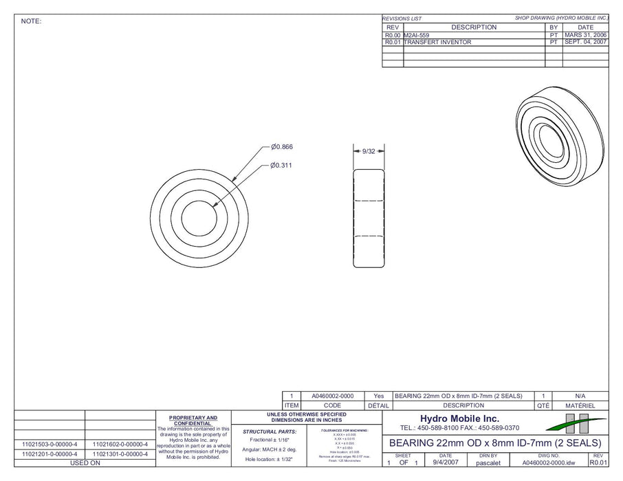 Bearing 22mm OD x 8mm ID-7mm (2 Seals)