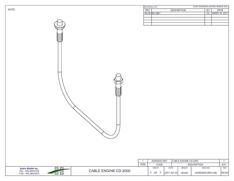 "6'7"" Engine Cable CD-2000"