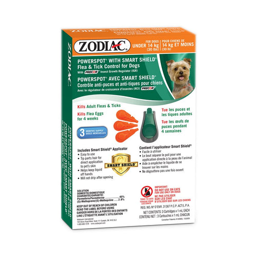 Zodiac smart shield power spot chien de moins de 30 lb