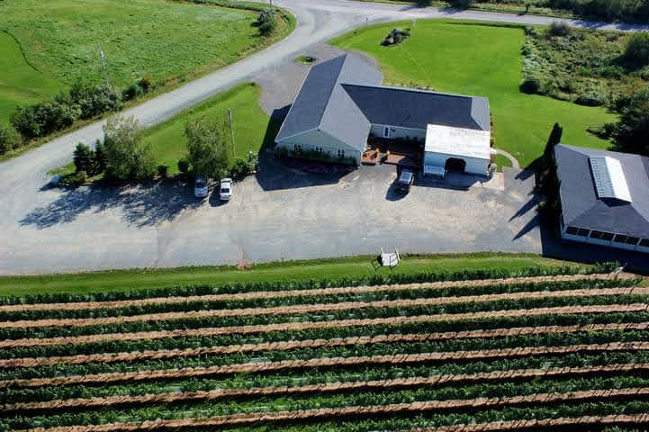Aerial view of Sainte-Famille vineyards and facilities.