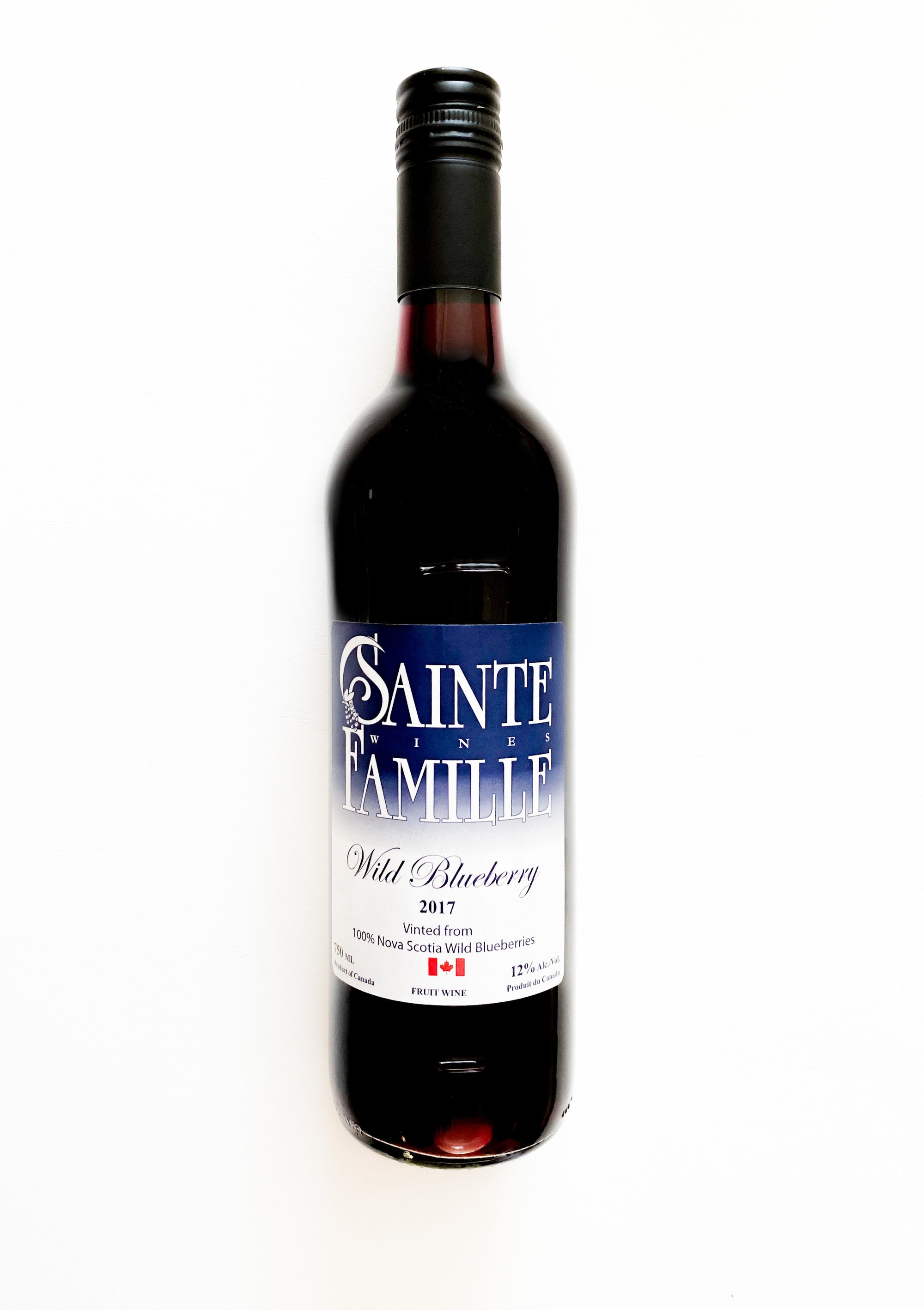 Bottle of Sainte-Famille Wild Blueberry wine.