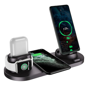 Cell My Device 4 in 1 Wireless Charging Station Dock with USB - Black