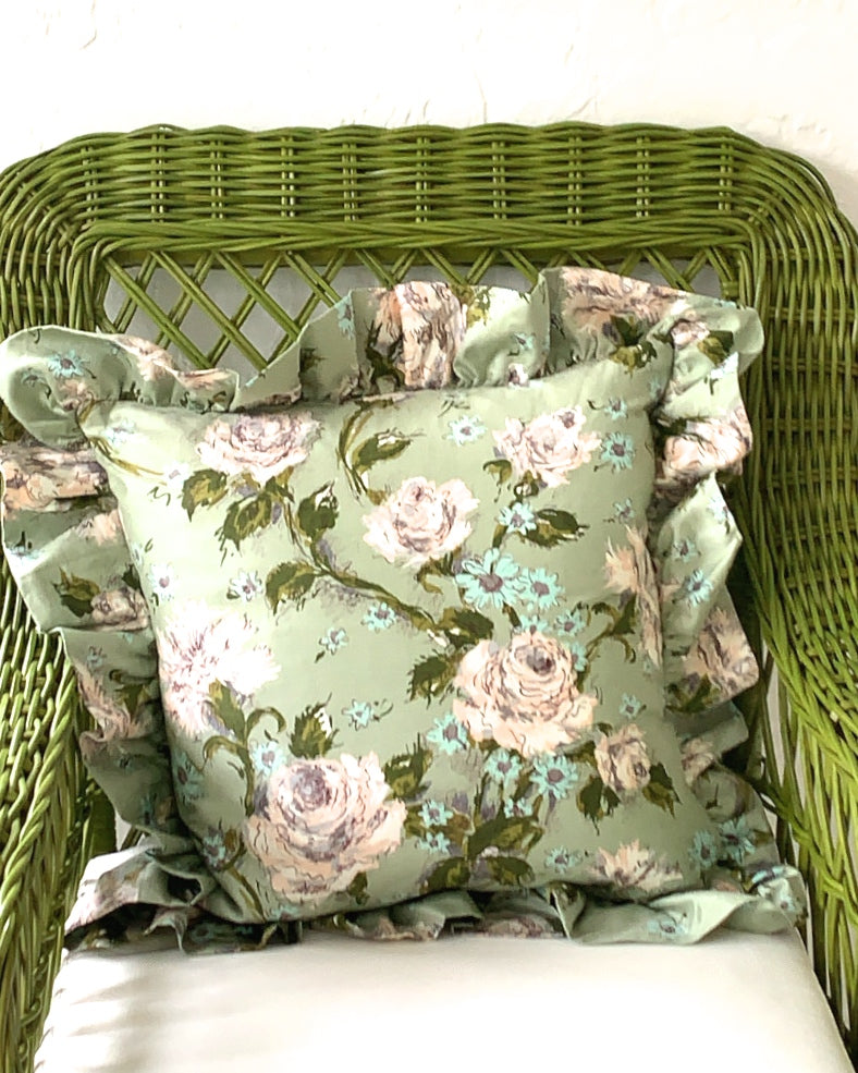 PAIR OF VINTAGE CHINTZ RUFFLED CUSHIONS - SAGE GARDEN ROSE