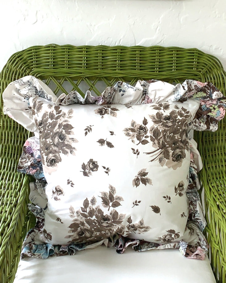 PAIR OF VINTAGE CHINTZ RUFFLED CUSHIONS - CHOCOLATE BOUQUET WITH MULTI PASTEL RUFFLE