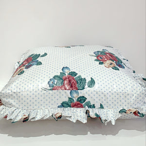 RUFFLED DOG PILLOW - CHINTZ ROSE BOUQUET