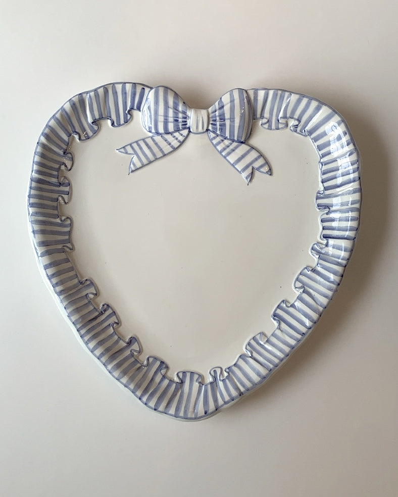 LARGE HAND PAINTED RUFFLE HEART PLATTER - POWDER BLUE