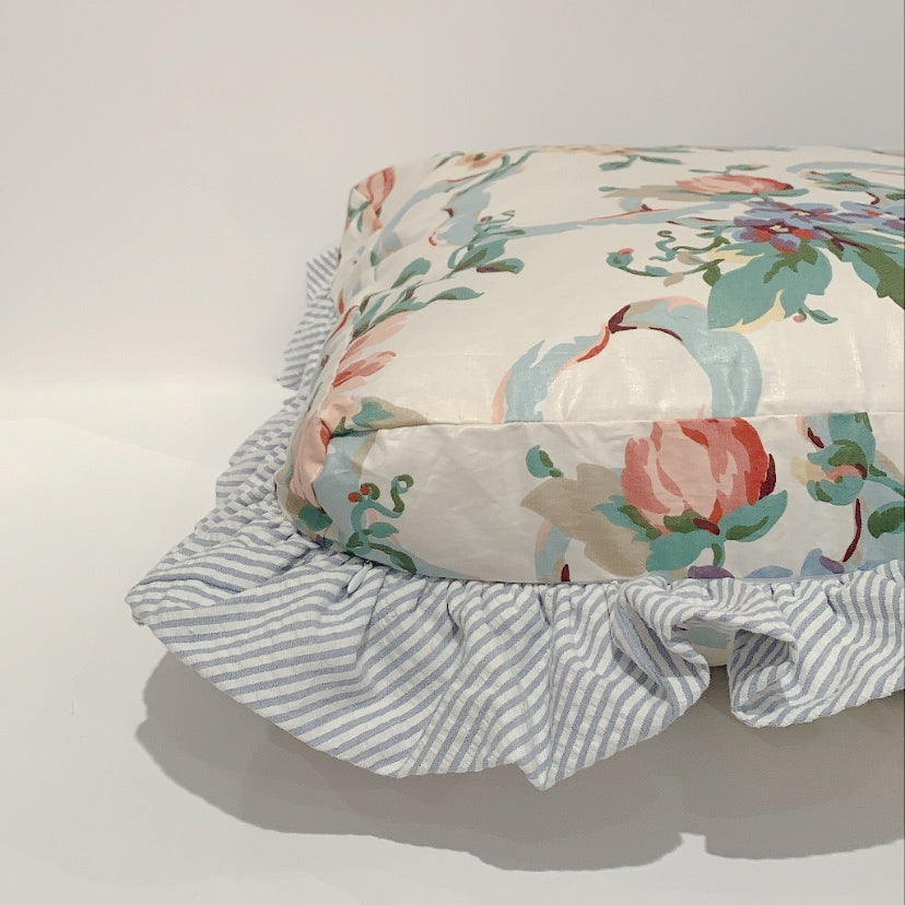 RUFFLED DOG PILLOW - CHINTZ RIBBON FLORAL