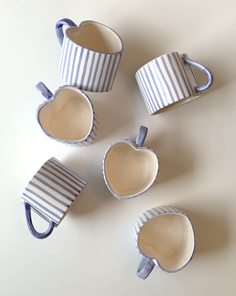 SET OF 2 HAND PAINTED HEART MUGS