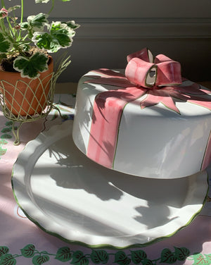 VINTAGE PORCELAIN CAKE PLATE AND COVER WITH PINK BOW