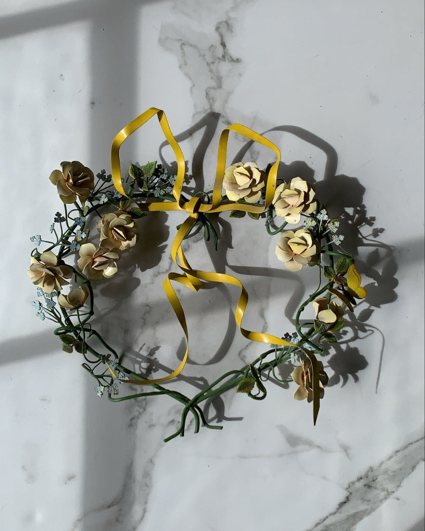 VINTAGE DRESDEN FLORAL BOW TOLE WREATH - YELLOW