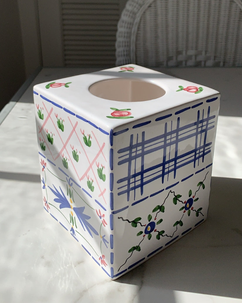 VINTAGE PORCELAIN TISSUE BOX WITH FLORAL TRELLIS PATTERN