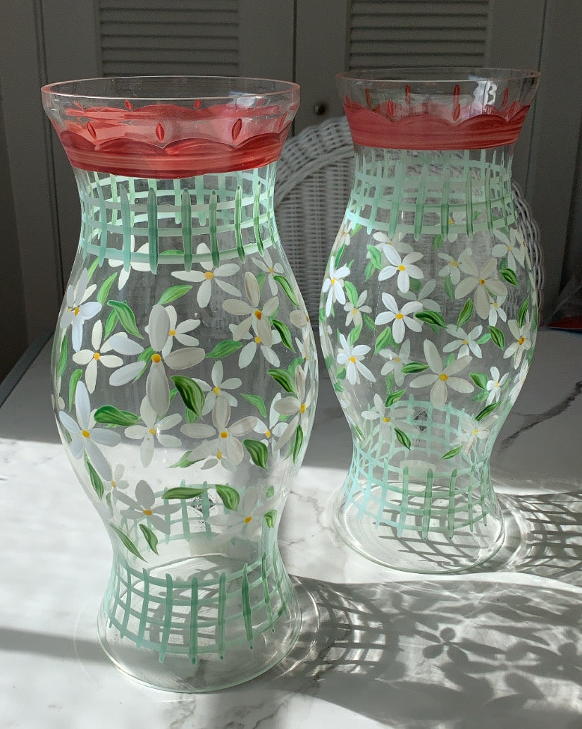 SET OF 2 VINTAGE HAND PAINTED LATTICE AND FLORAL HURRICANES