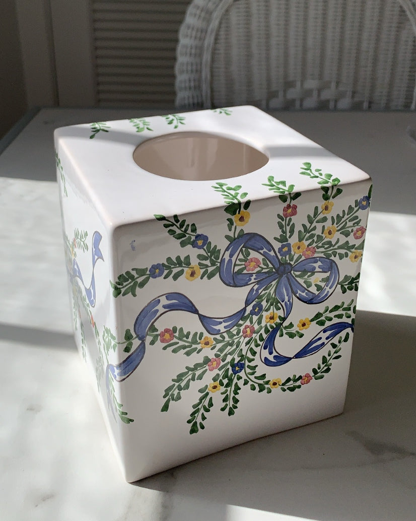 VINTAGE PORCELAIN TISSUE BOX WITH BLUE FLORAL BOW PATTERN