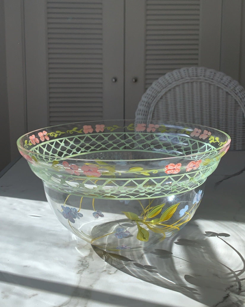 VINTAGE HAND PAINTED SERVING BOWL