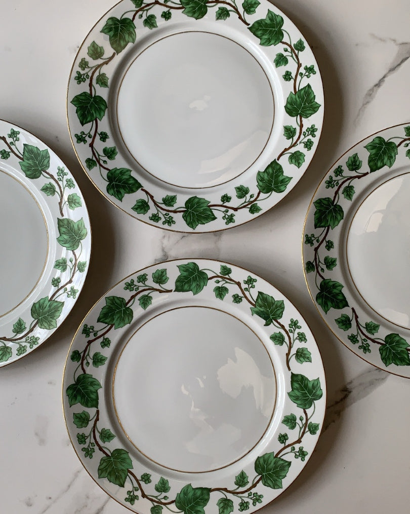 IVY BONE CHINA PLATES WITH GOLD TRIM