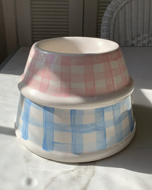 HAND PAINTED GINGHAM CHECK DOG BOWLS - PINK
