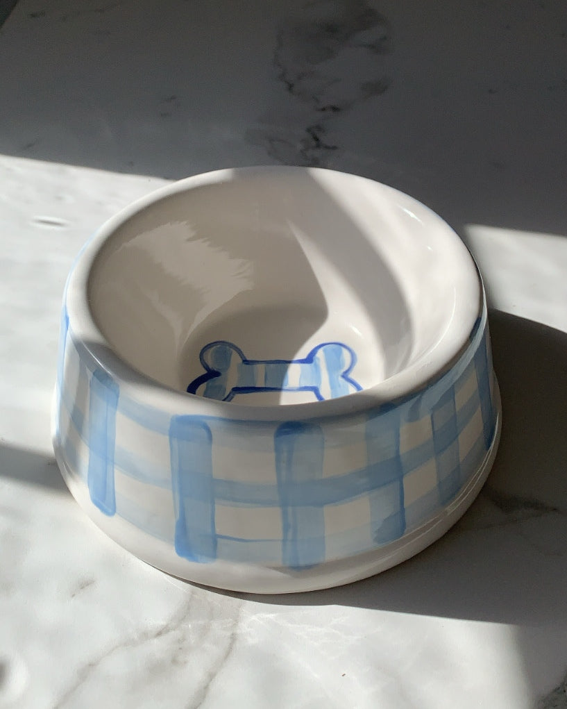 HAND PAINTED GINGHAM CHECK DOG BOWL - BLUE