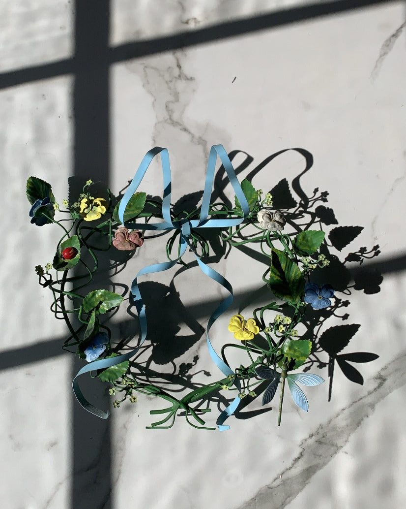 VINTAGE DRESDEN FLORAL TOLE BOW WREATH