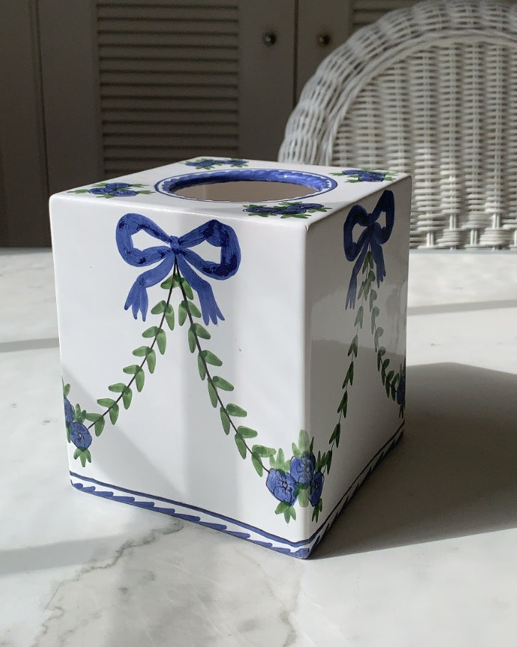 HAND PAINTED BLUE BOW AND GARLAND TISSUE BOX COVER