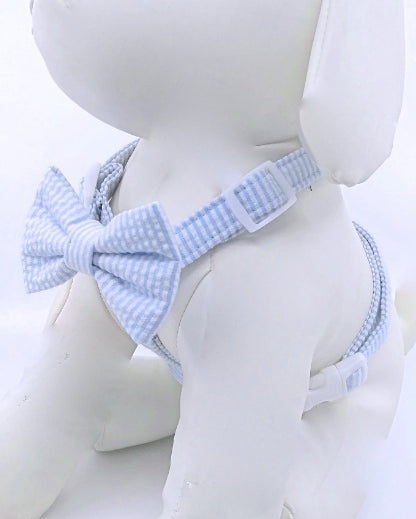 SEERSUCKER BOW TIE DOG HARNESS