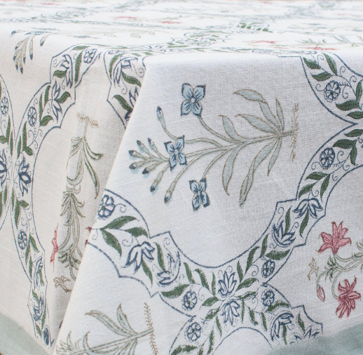 CAMELIA BLOCK PRINT TABLECLOTH