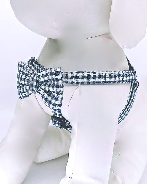 GINGHAM BOW TIE DOG HARNESS