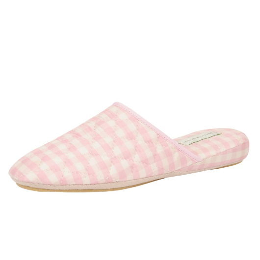 SILK GINGHAM CHECK SLIPPERS - POWDER PINK